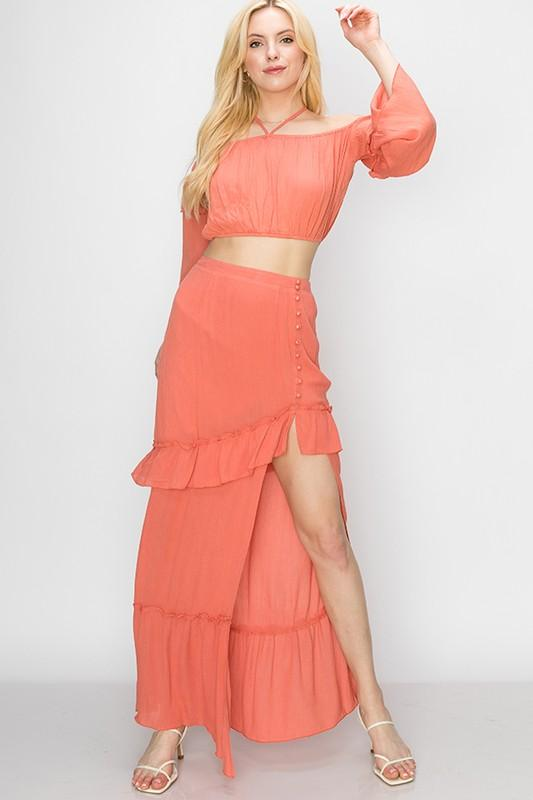 Tatiana Matching Crop Top & Maxi Skirt Set - Rust