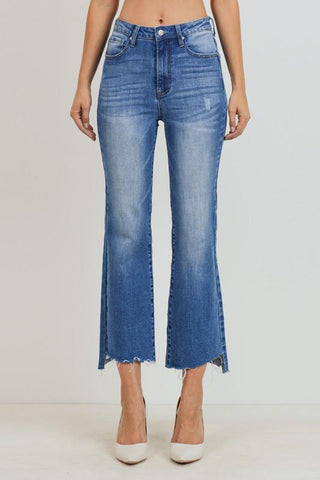 Zarah High Rise Raw Cut Denim Jeans