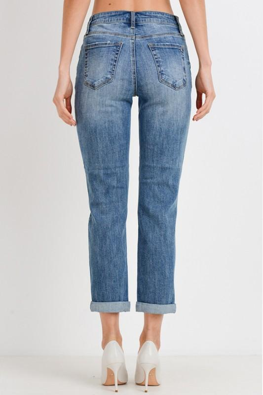 Rue Roll-Up Slim Fit Boyfriend Jeans