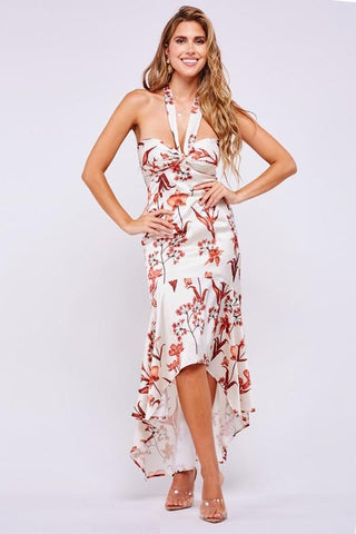 Penelope High Low Floral Silky Dress
