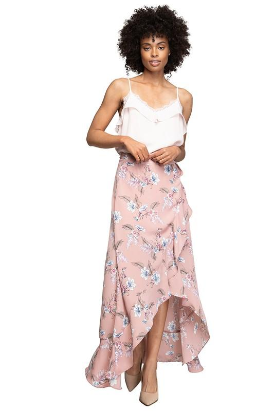 Addison Floral Wrap Skirt - Mauve