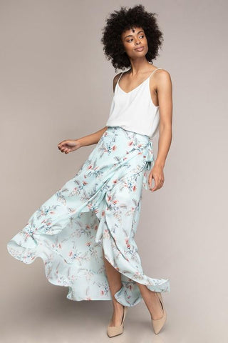 Addison Floral Wrap Skirt - Blue
