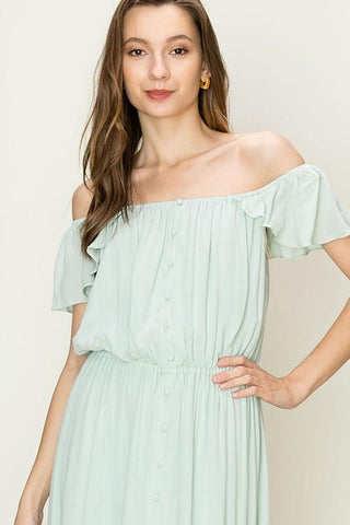Alex Off Shoulder Button Down Ruffle Dress - Seafoam