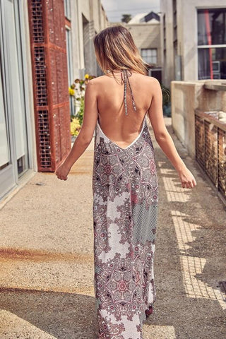 Janice Halter Open Back Maxi Dress