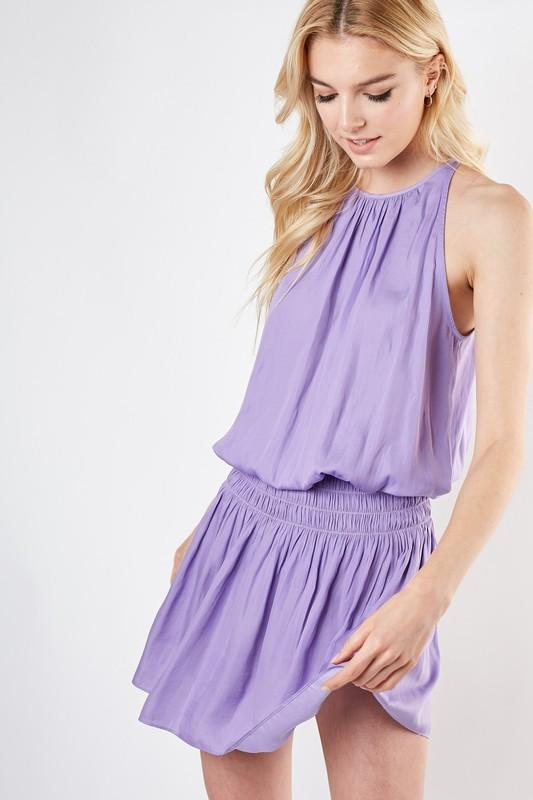 Candice Smocked Waist Mini Dress - Lavender