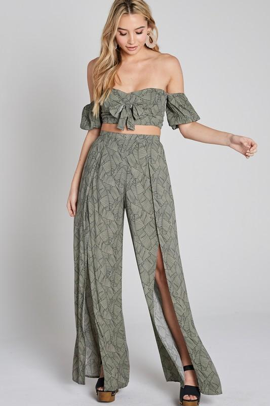 Courtney Matching Tube Top & Wide Pants Set