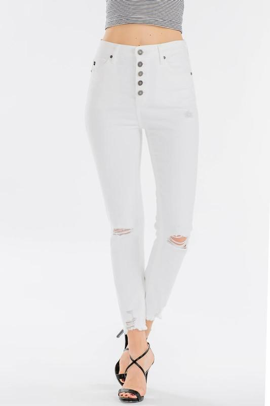 Whitney High Rise Button Skinny Jeans