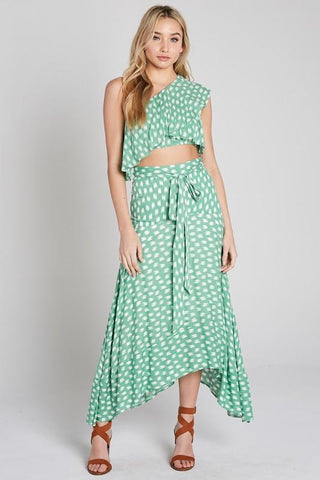 Cara One Shoulder Crop Top & High-Low Ruffle Skirt