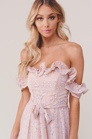 Joy Off Shoulder Ruffle Floral Jumpsuit - Blush