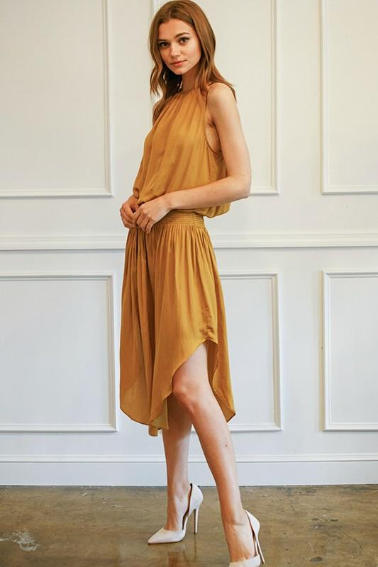 Johanna Smocking Waist Sleeveless Midi Dress - Mustard