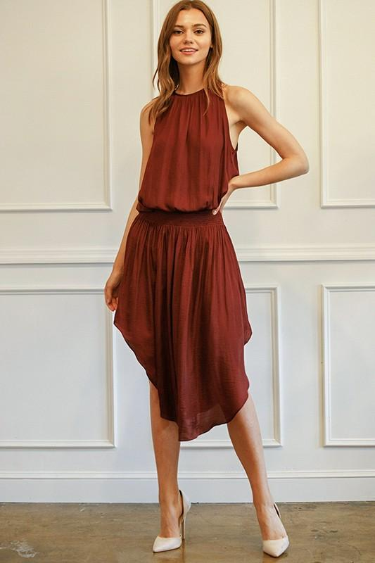 Johanna Smocking Waist Sleeveless Midi Dress - Burgundy