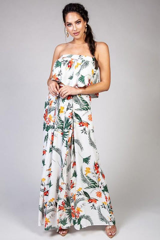 Alicia Floral Ruffle Tube Top & Slit Palazzo Pants Set