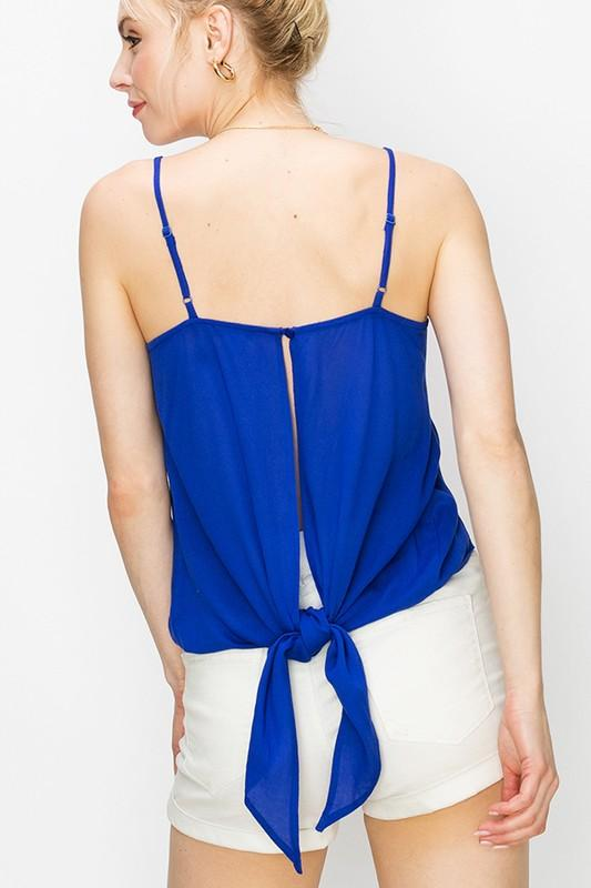 Amelia Split Back Tank Top - Royal Blue