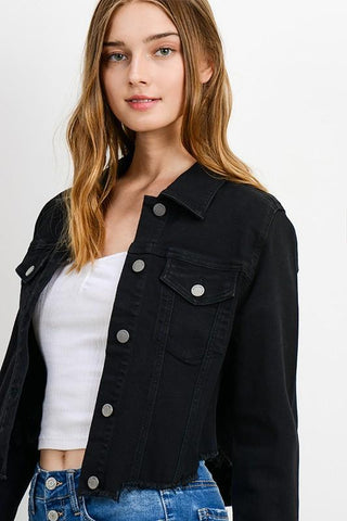 Anto Raw Cut Frayed Crop Jacket