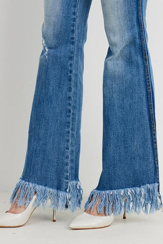 Daniela Long Fray Flare Denim Jean
