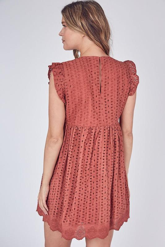 Skylar Eyelet Romper / Dress - Rust