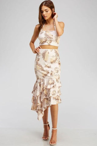 Luana Leaf Print Crop Top & Matching Skirt Set