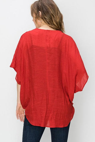 Maybel Criss Cross Gauze Top - Red