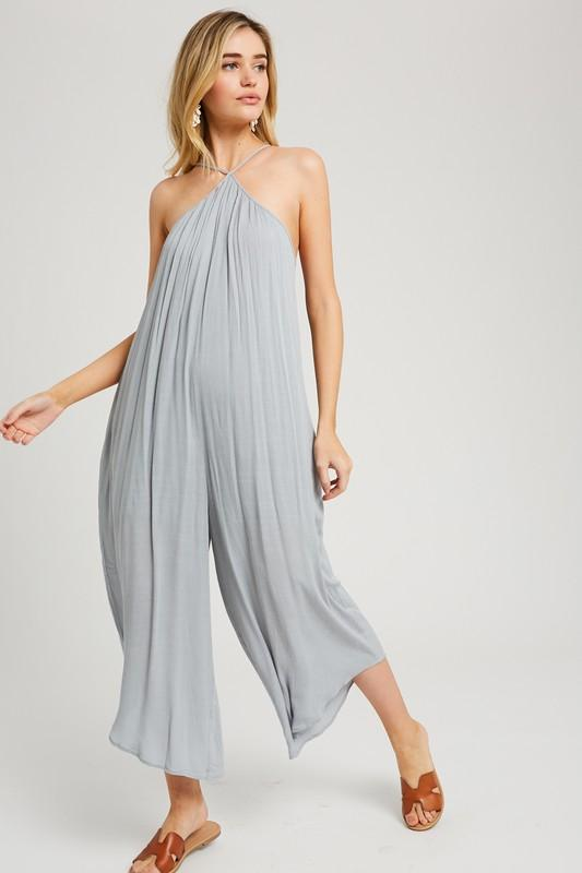 Xamira Crop Halter Jumpsuit - Cloud