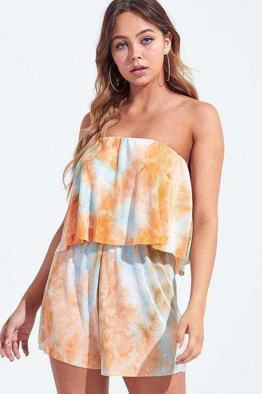 Kath Strapless Pleated Tie Dye Romper - Coral/Blue