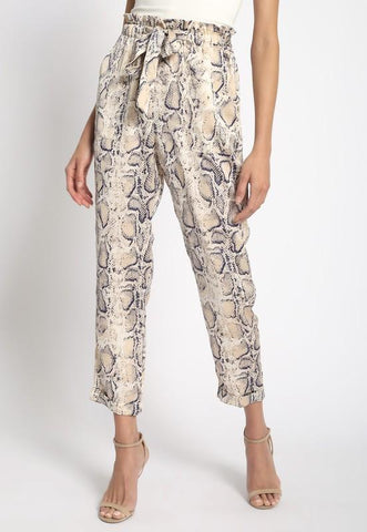 Juliet Python Print Self Tie Pants