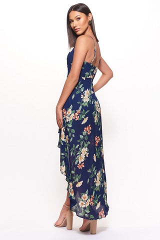 Celina High Low Floral Dress - Navy