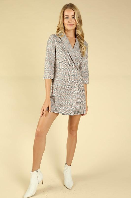 Heather Plaid Blazer Mini Dress
