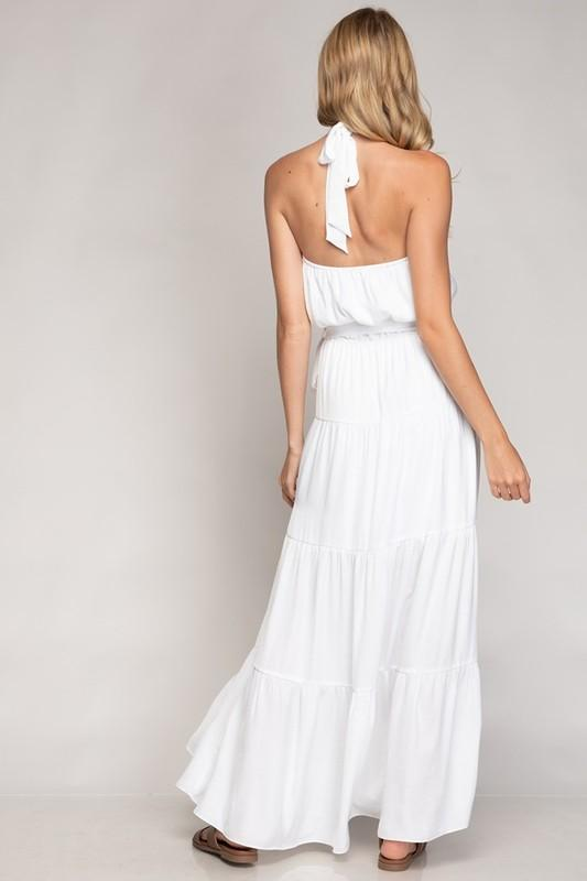 Clarise Halter Maxi Tiered Dress - White