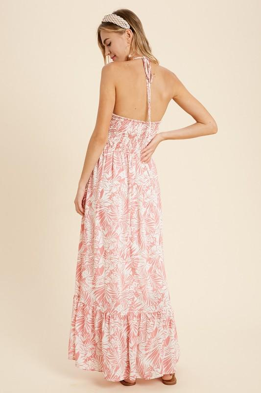 Lynn Palm Halter Maxi Dress