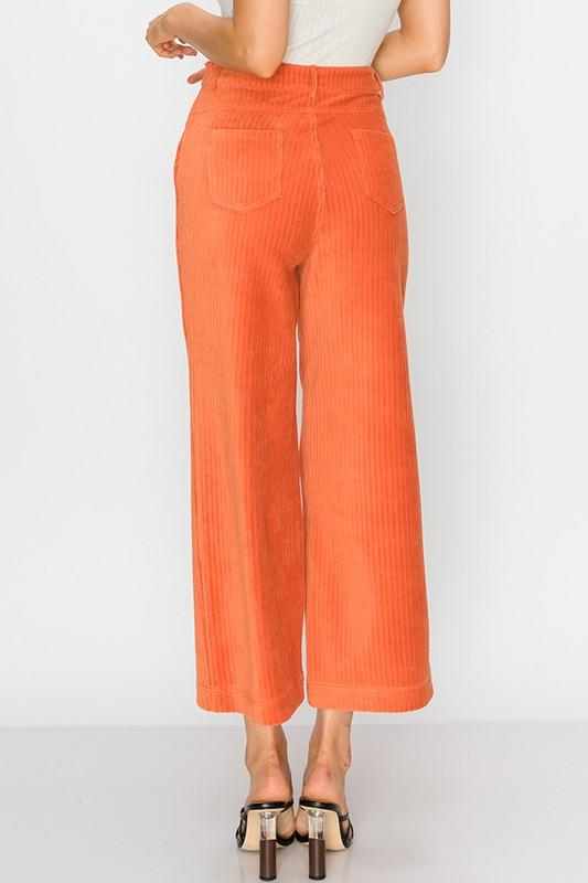 Rachel Corduroy Crop Pants - Orange