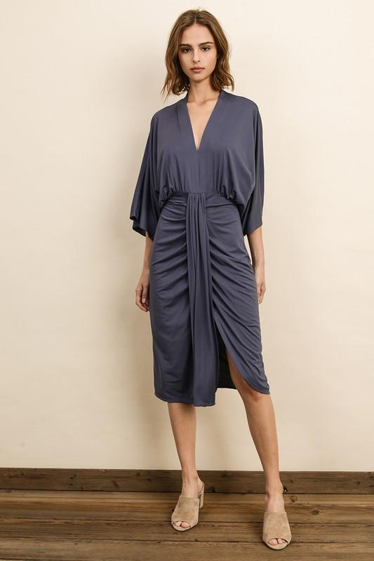 Bentley V-Neck Midi Ruched Dress