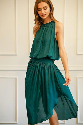 Johanna Smocking Waist Sleeveless Midi Dress - Emerald Green.