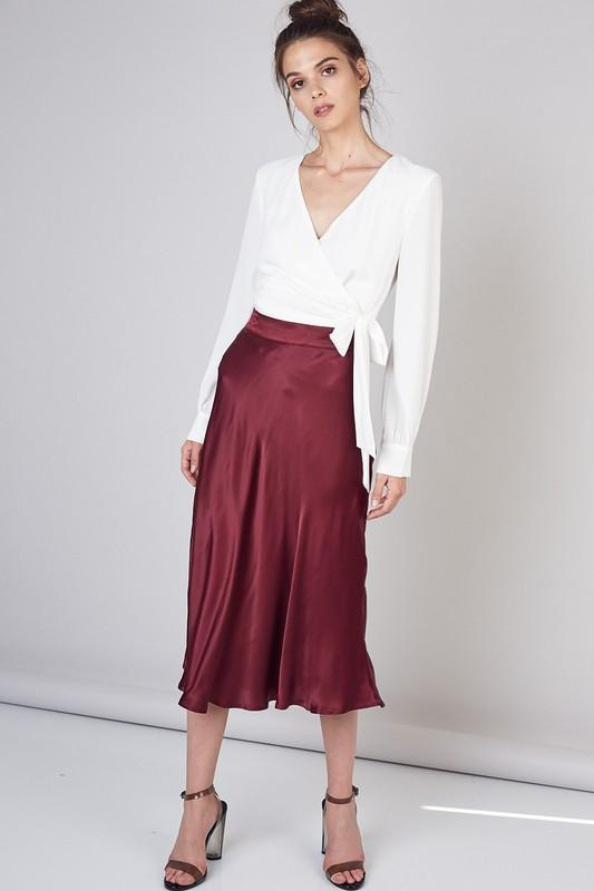 Laura Satin Midi Flare Skirt - Wine