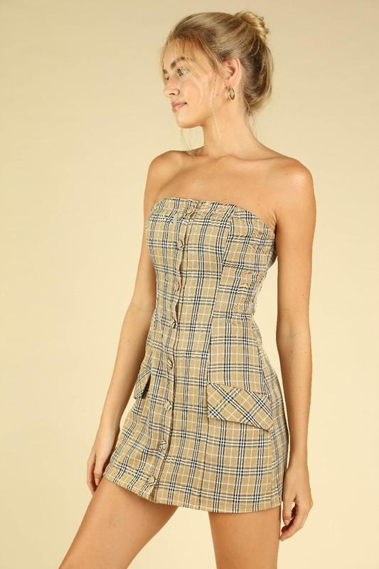 Gaby Strapless Plaid Dress