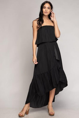Ellen Strapless High Low Dress - Black