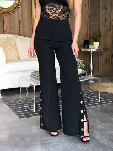 Georgette High Waisted Side Button Pants