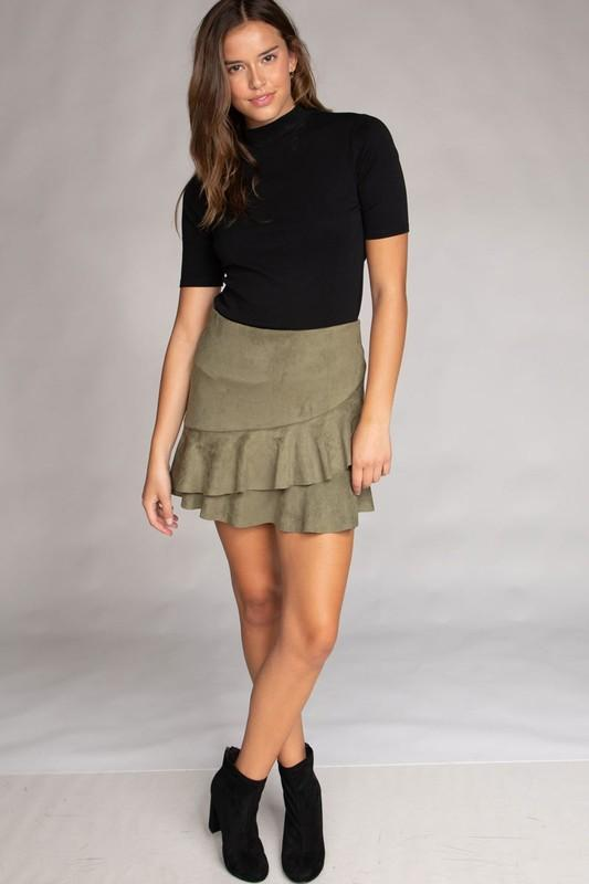 Carolina Faux Suede Mini Skirt - Olive