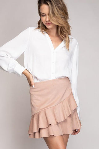 Carolina Faux Suede Mini Skirt - Blush