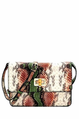 Christy Python Clutch with Crossover Strap - Green/Orange