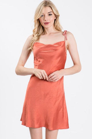 Goji Cowl Neck Slip Mini Dress