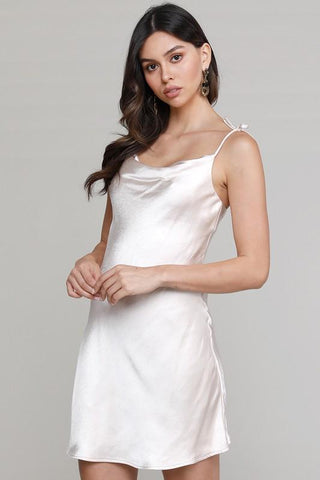 Goji Cowl Neck Slip Mini Dress - Ivory