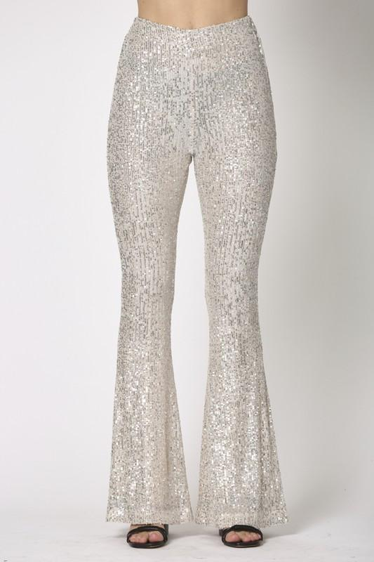 Asha High Waisted Sequin Flare Pants