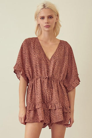 Shelley Leopard Coral Romper
