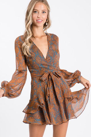 Daffie Long Sleeve Ruffled Dress