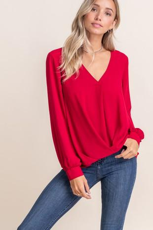Cristina Surplice Long Sleeve Top