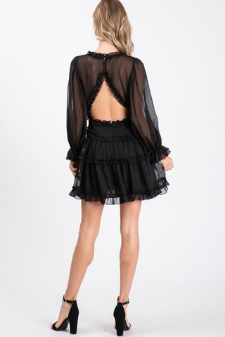 Belkis Ruffle Cuffed Long-Sleeve Dress