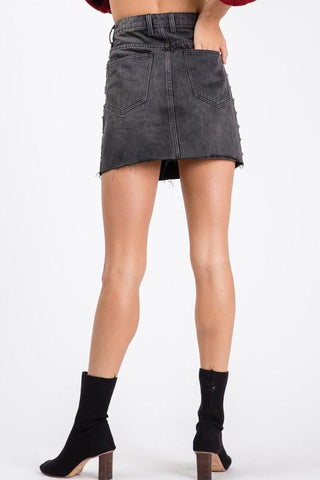 Evalina Studded Detail Mini Denim Skirt
