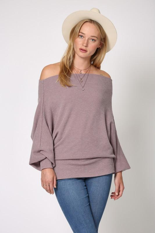 Reign Long Sleeve Off Shoulder Top - Lavender