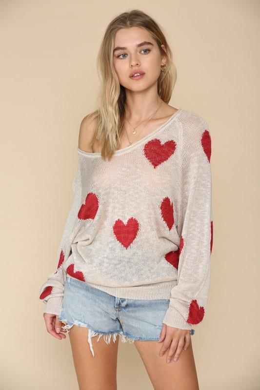 Valentina Distressed Heart Sweater