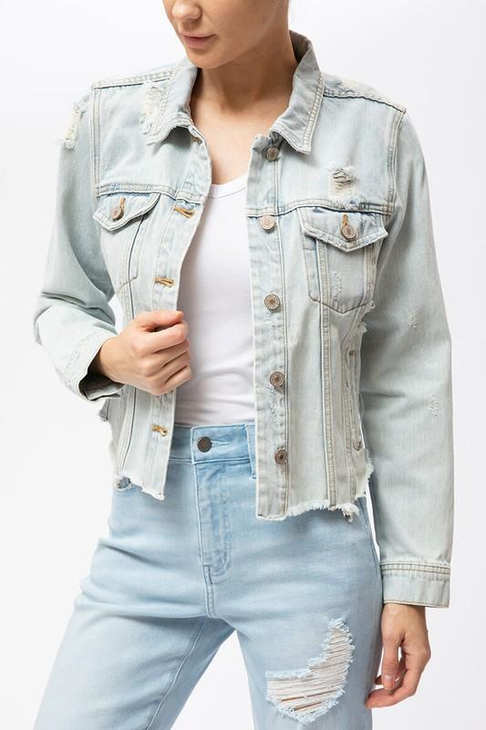 Misha Distressed Denim Jacket